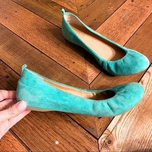 J. Crew Aqua Suede Ballet Flat Size 7.5
